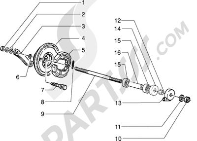 Piaggio Zip RST 1998-2005 Componentes rueda delantera