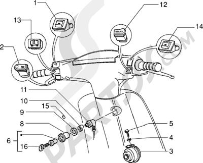 Piaggio Zip RST 1998-2005 Conmutadores-Claxon-Cerradura