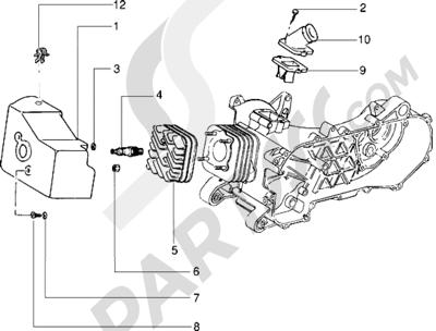 Piaggio Zip RST 1998-2005 Culata-deflector y racor de admision