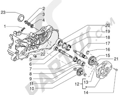 Piaggio Zip RST 1998-2005 Eje rueda trasera