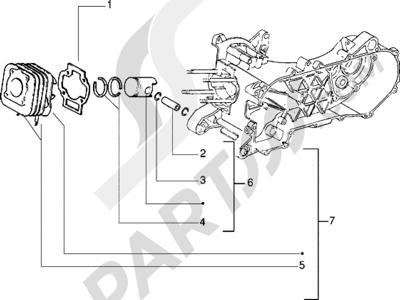Piaggio Zip RST 1998-2005 Grupo cilindro-piston-eje de piston