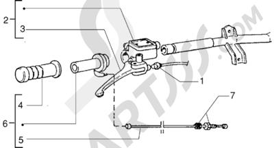 Piaggio Zip RST 1998-2005 Piezas que componen el manillar (Vehículos con freno de disco trasero)