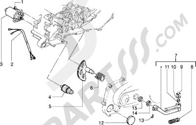 Piaggio Zip SP 1998-2005 Motor de arranque-Palanca de arranque