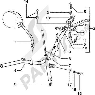 Piaggio Zip SP 50 1998-2005 Piezas que componen el manillar