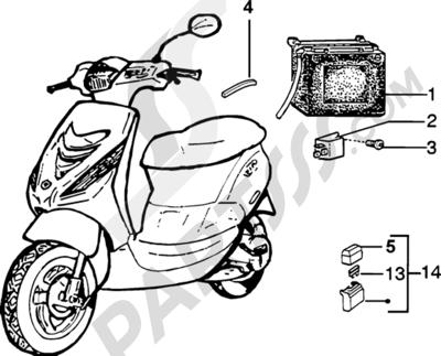 Piaggio Zip SP H2O 1998-2005 Bateria-Telerruptor