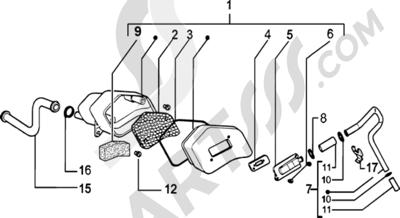 Piaggio Zip SP H2O 1998-2005 Caja aire secundario