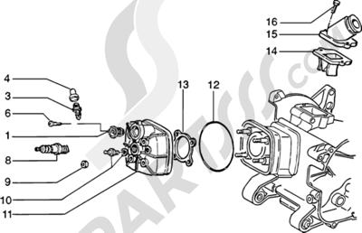 Piaggio Zip SP H2O 1998-2005 Culata-deflector y racor de admision