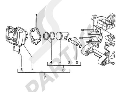 Piaggio Zip SP H2O 1998-2005 Grupo cilindro-piston-eje de piston