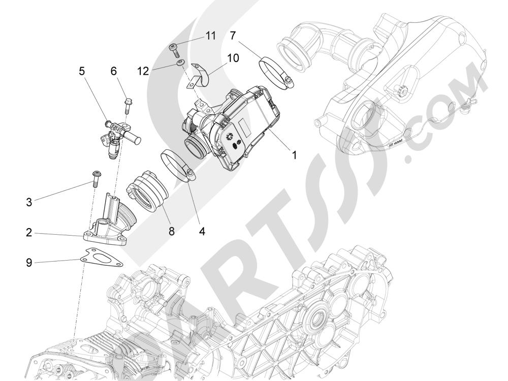 Vespa Vespa 125 4T 3V ie Primavera 2013-2016 Cuerpo con mariposa - Inyector - Racord admisión