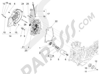 Vespa Vespa 125 4T 3V ie Primavera 2013-2016 Tapa volante magnetico - Filtro de aceite