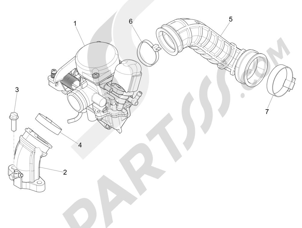 Vespa Vespa Primavera 50 4T-2V 25 km/h (B-NL) 2014-2016 Carburador completo - Racord admisión