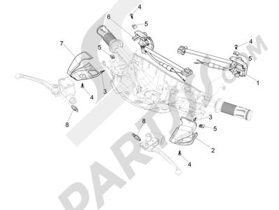 Vespa Vespa Primavera 50 4T-2V 25 km/h (B-NL) 2014-2016 Conmutadores - Conmutadores - Pulsadores - Interruptores