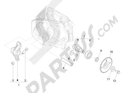 Vespa Vespa Primavera 50 4T-2V 25 km/h (B-NL) 2014-2016 Grupo soporte balancines