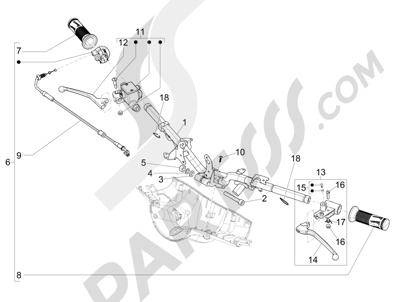 Vespa Vespa Primavera 50 4T-2V 25 km/h (B-NL) 2014-2016 Manillar - Bomba freno