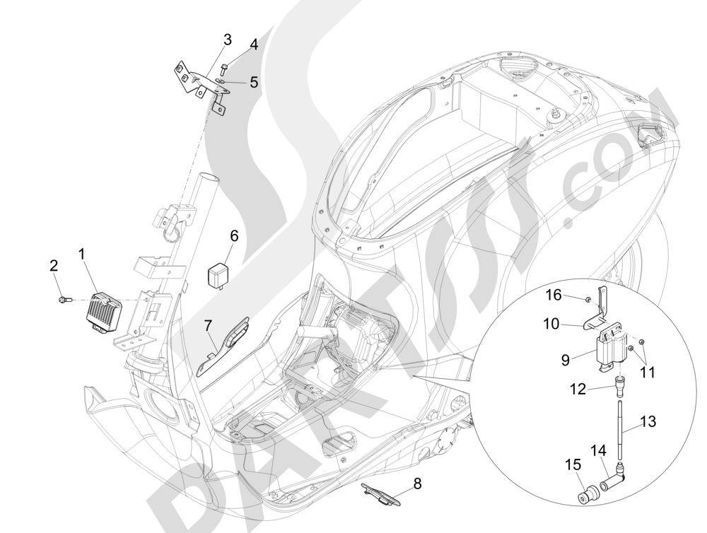 Vespa Vespa Primavera 50 4T-2V 25 km/h (B-NL) 2014-2016 Reguladores de tensión - Centralitas electrónicas - Bobina A.T.