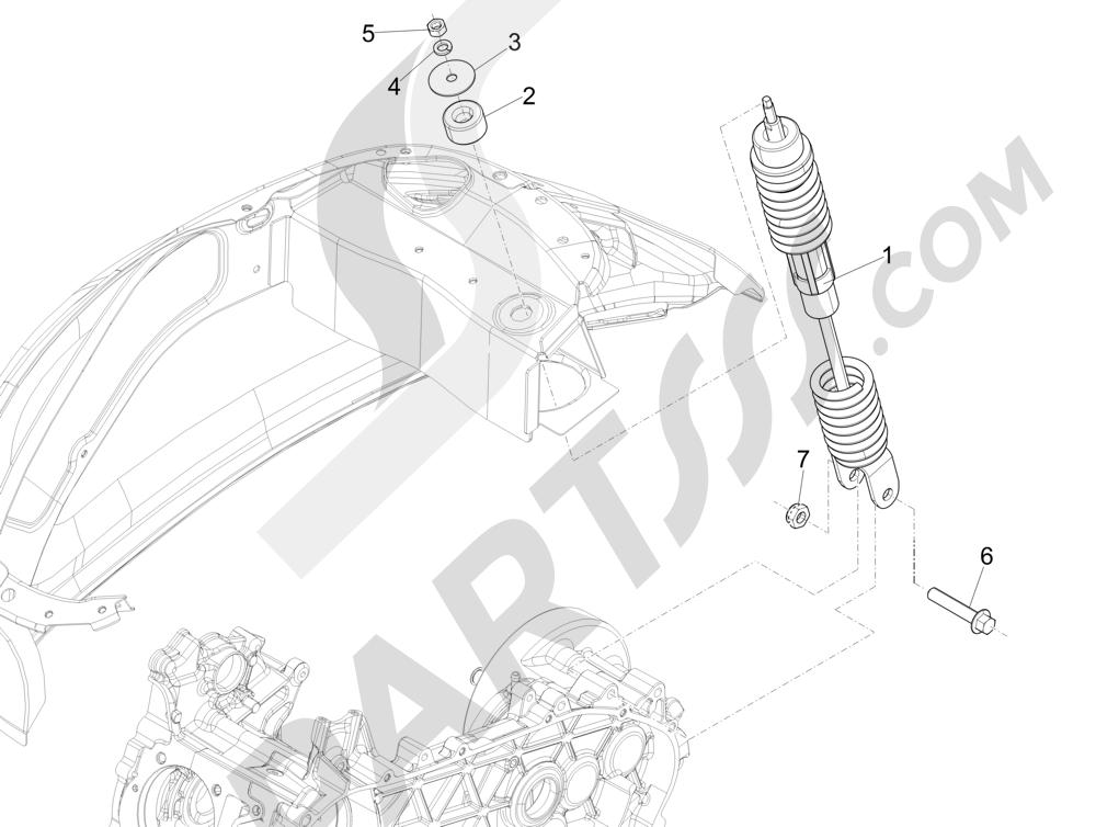 Vespa Vespa Primavera 50 4T-2V 25 km/h (B-NL) 2014-2016 Suspensión trasera - Amortiguador es