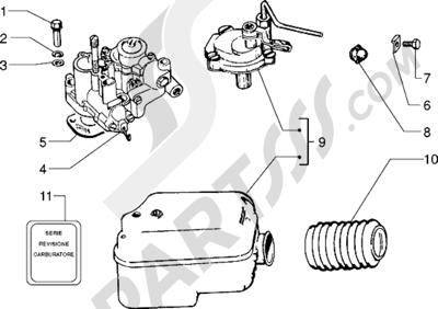 Vespa Vespa PX 125 E 1998-2005 Carburador-filtro de aire