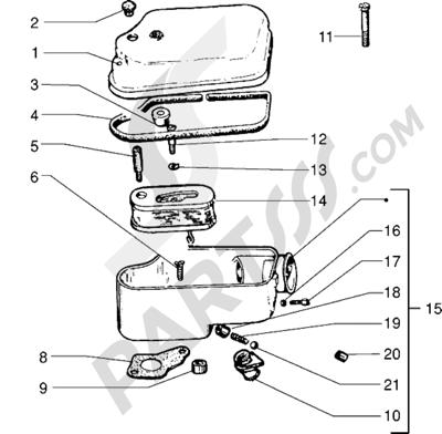 Vespa Vespa PX 125 E 1998-2005 Componentes del filtro de aire