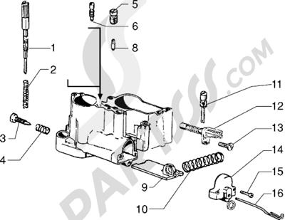 Vespa Vespa PX 125 E 1998-2005 Conponentes del carburador