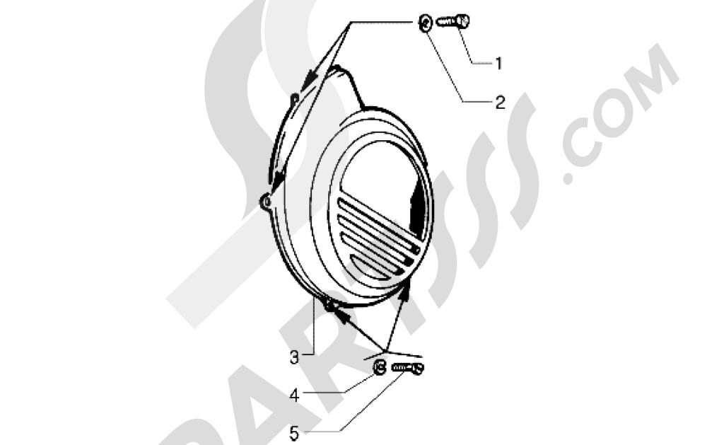 Vespa Vespa PX 125 E 1998-2005 Tapa caracol-Protección motor