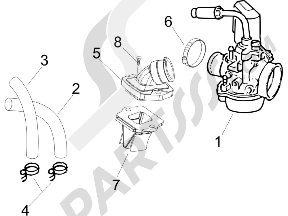 Gilera DNA 50 2006 Carburador completo - Racord admisi—n