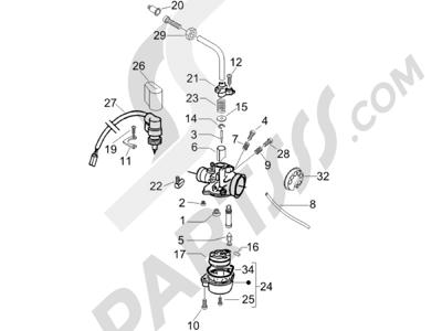 Gilera DNA 50 2006 Componentes de carburador