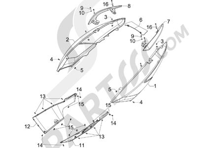 Gilera GP 800 2009-2011 Cubiertas laterales - Spoiler