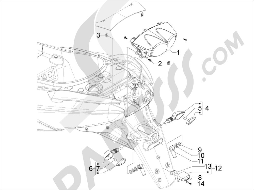 Gilera GP 800 2009-2011 Faros traseros - Indicadores de dirección