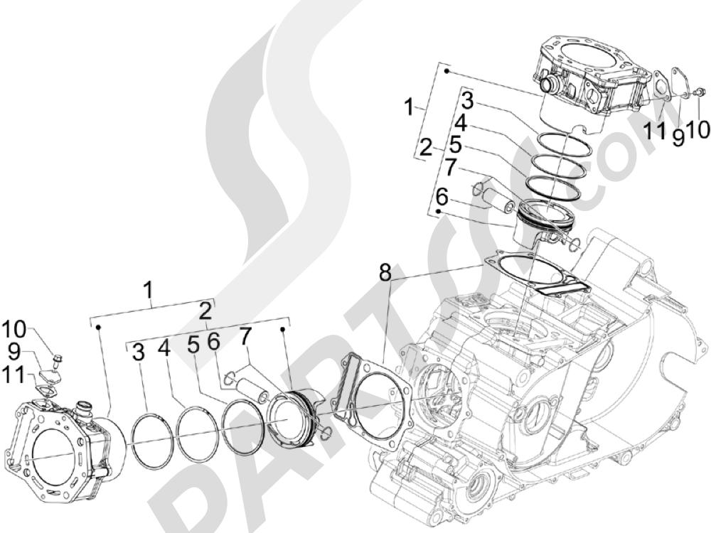 Gilera GP 800 2009-2011 Grupo cilindro-pistón-eje