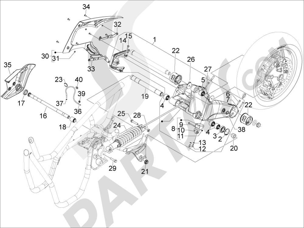 Gilera GP 800 2009-2011 Suspensión trasera - Amortiguador es