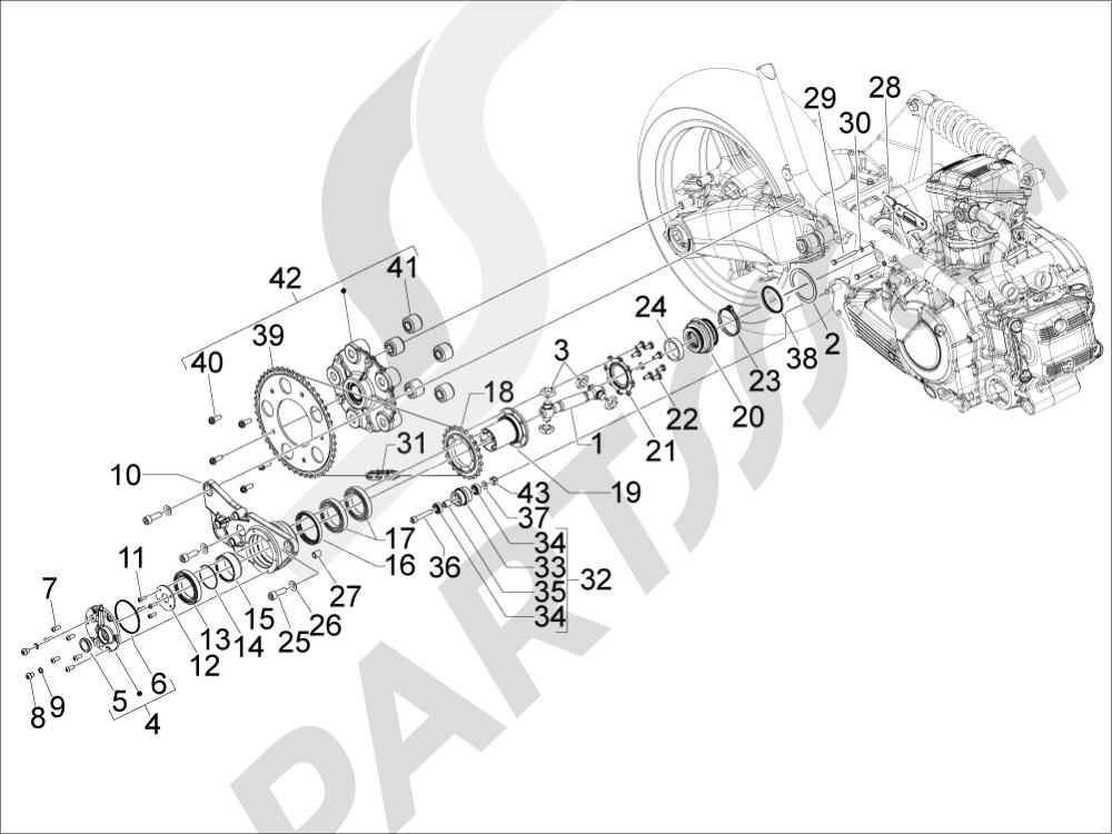 Gilera GP 800 2009-2011 Transmisión completa