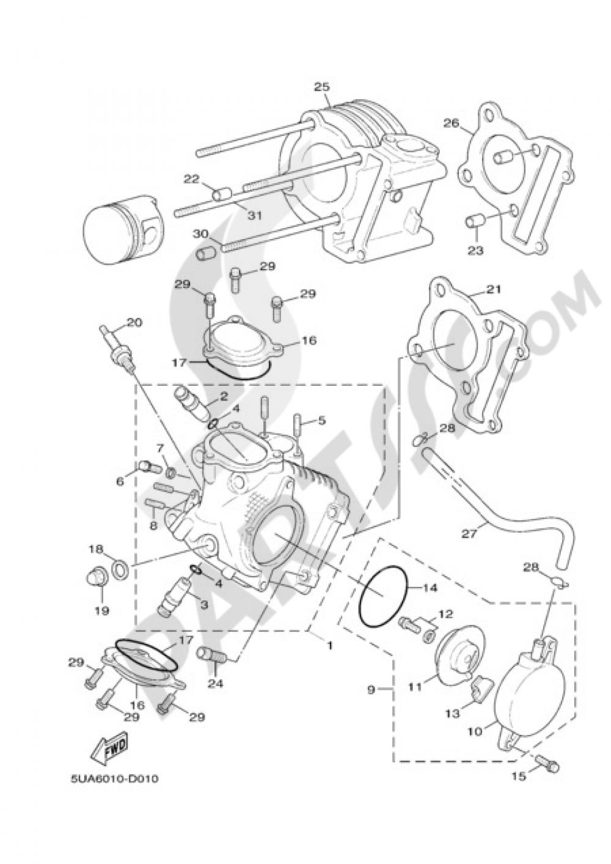 CYLINDER HEAD Yamaha Cygnus X 125 2006