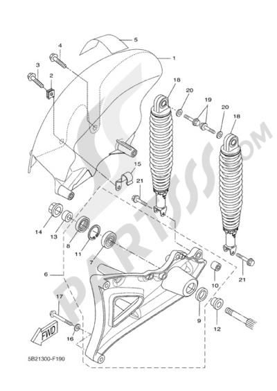 Yamaha X-City 250 2008 REAR ARM & SUSPENSION