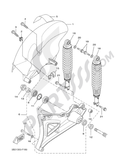 Yamaha X-City 250 2010 REAR ARM & SUSPENSION