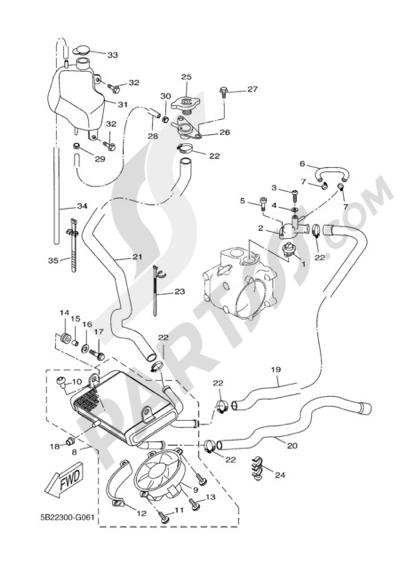 Yamaha X-City 250 2009 RADIATOR AND HOSE