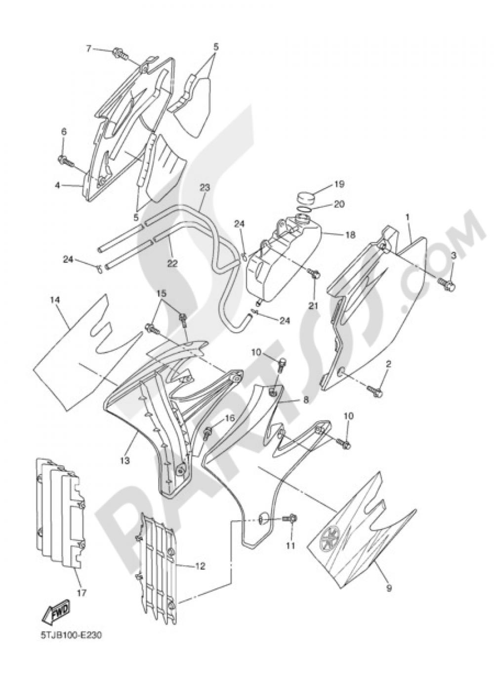 SIDE COVER Yamaha WR450F 2006