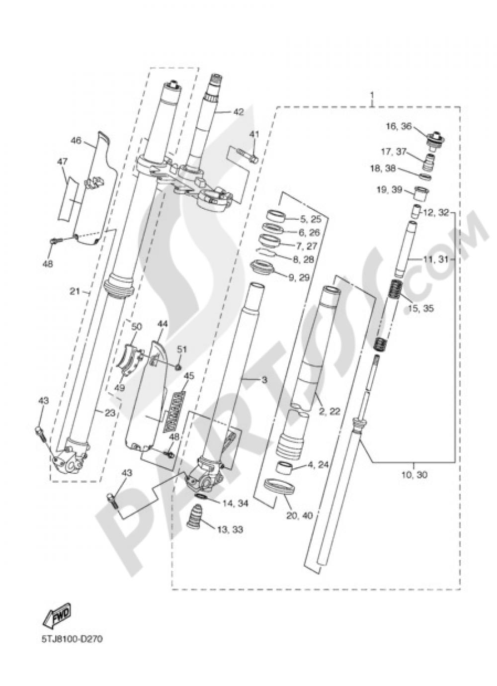 Yamaha 5MV23195L000 Front Fork Rubber