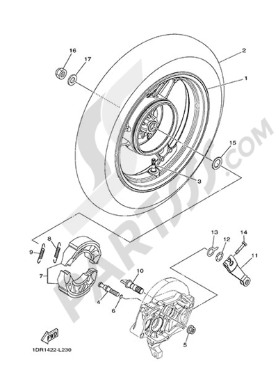 Yamaha D'elight 125 2014 REAR WHEEL FOR CAST WHEEL