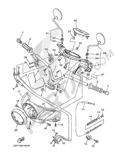 Yamaha D'elight 125 2014 HANDELBAR AND CABLES