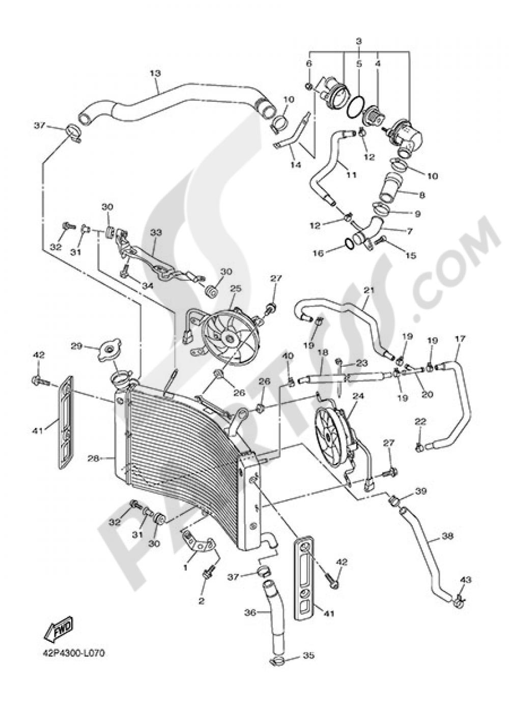RADIATOR AND HOSE Yamaha Fazer8 ABS 2014