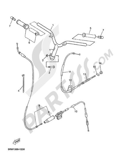 Yamaha Jog R 2015 HANDELBAR AND CABLES