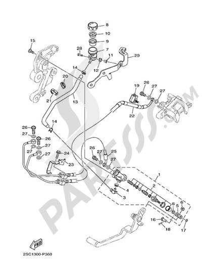 Yamaha MT-09 Tracer 2015 REAR MASTER CYLINDER