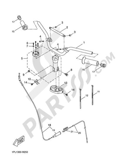 Yamaha NS50N 2014 HANDELBAR AND CABLES