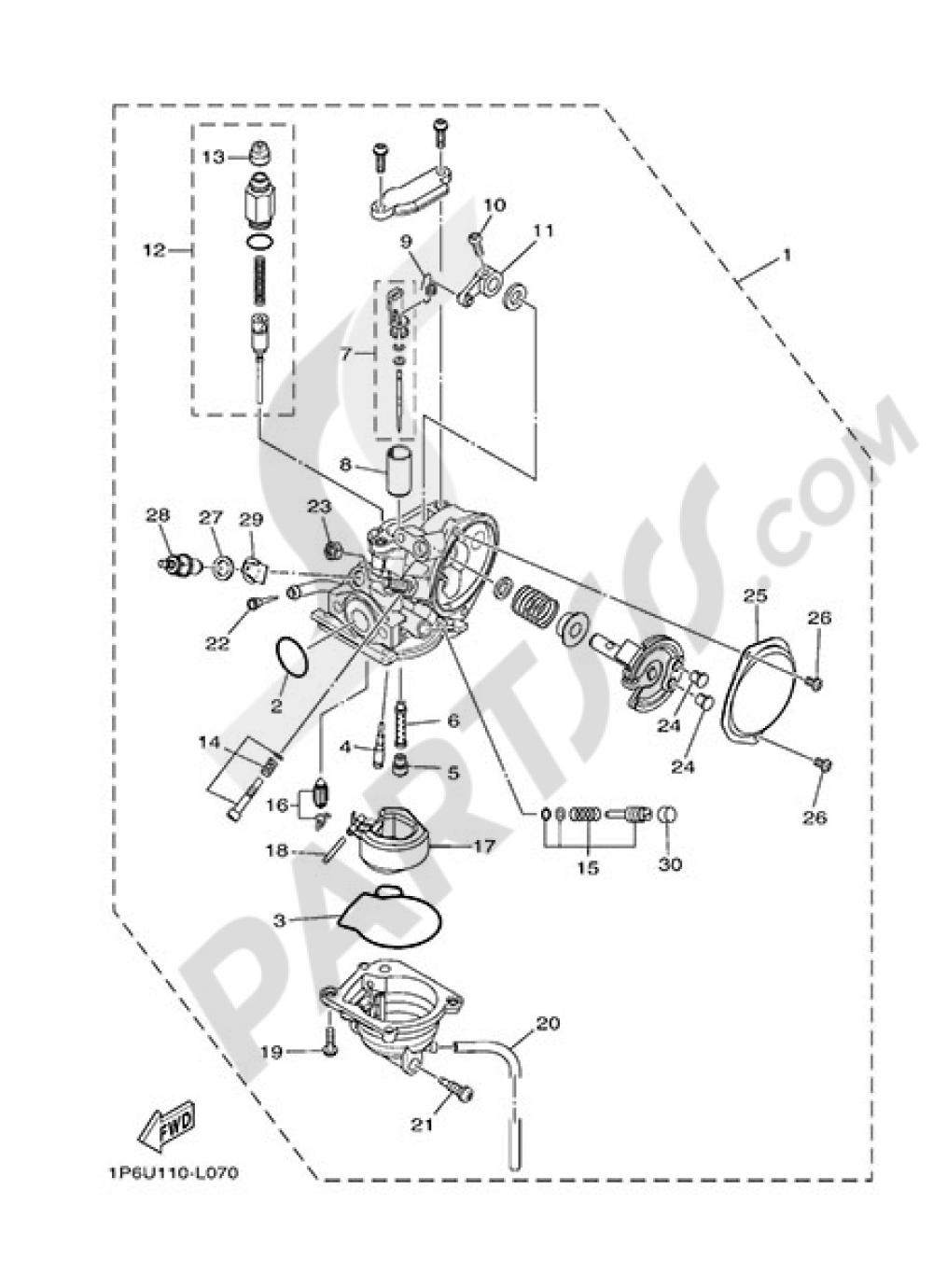CARBURETOR Yamaha TT-R50E 2014