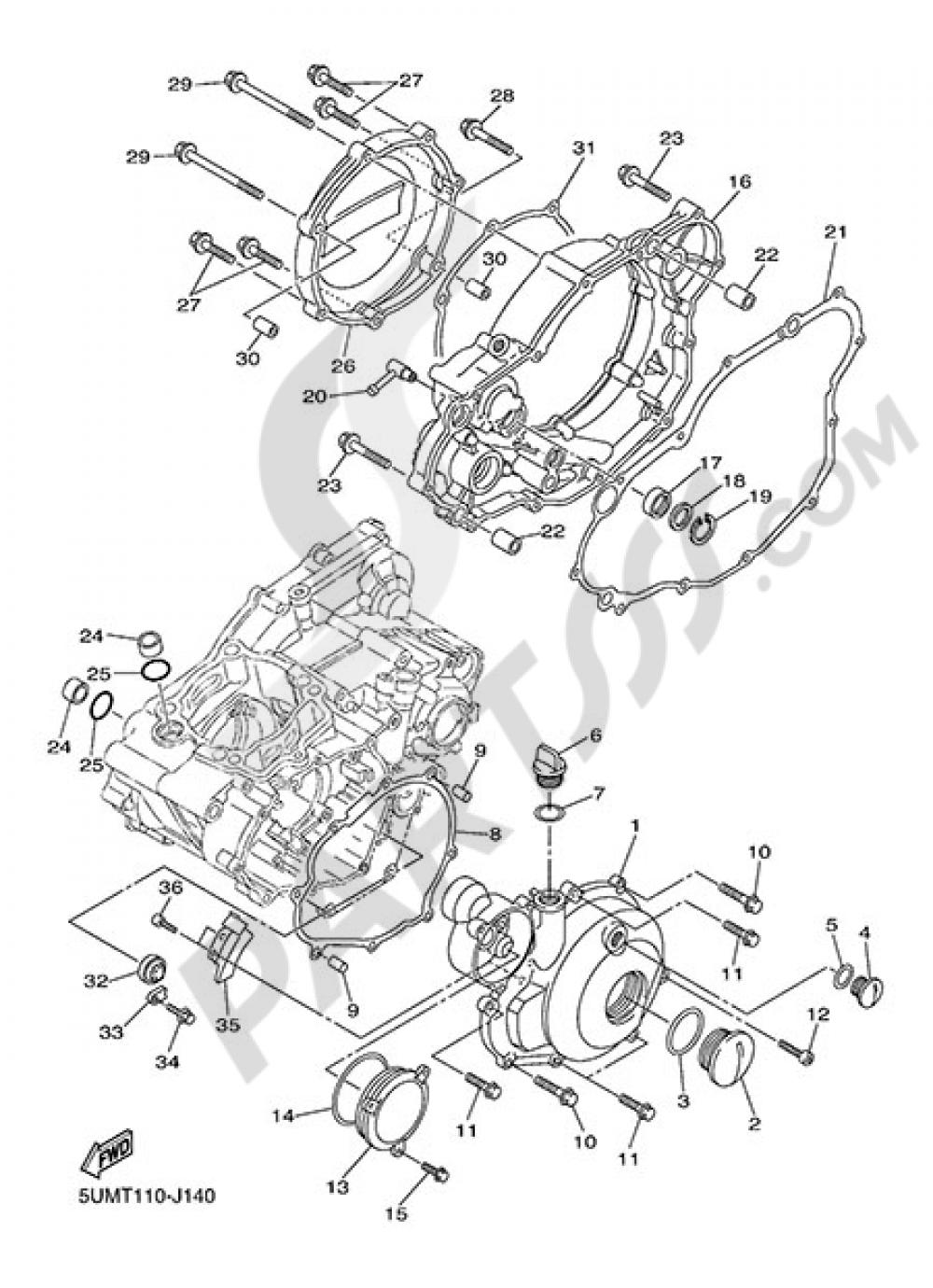 CRANKCASE COVER 1 Yamaha WR250F 2014