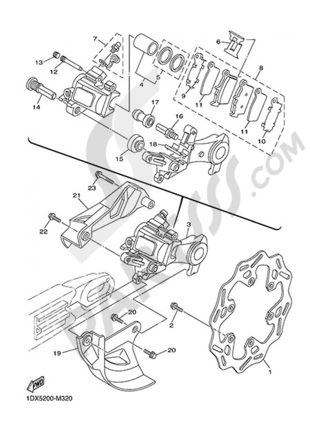 REAR BRAKE CALIPER Yamaha WR250F 2014