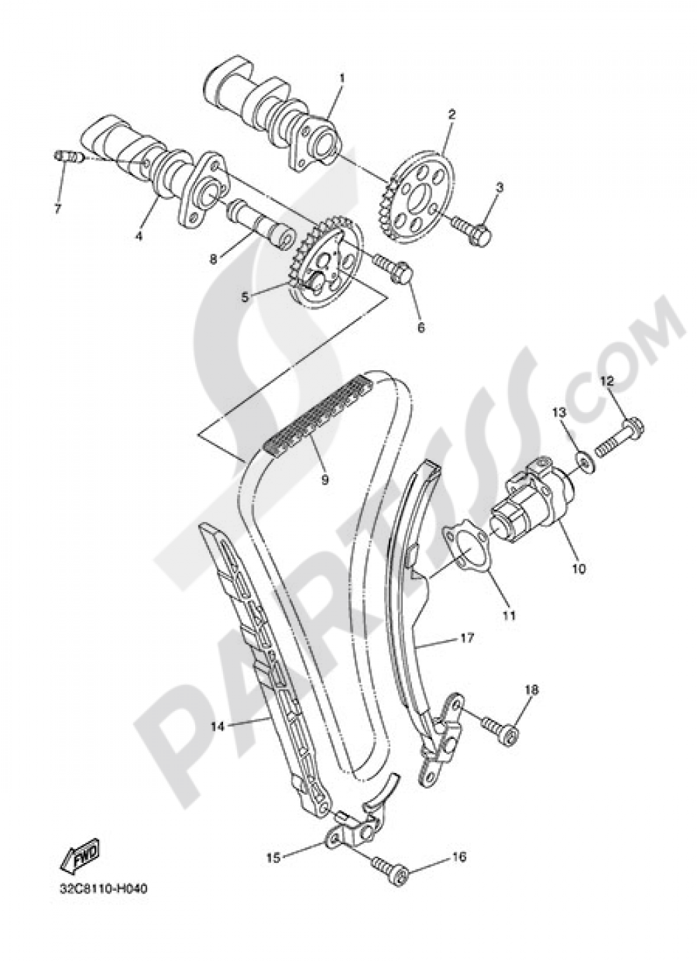 CAMSHAFT &CHAIN Yamaha WR250R 2015