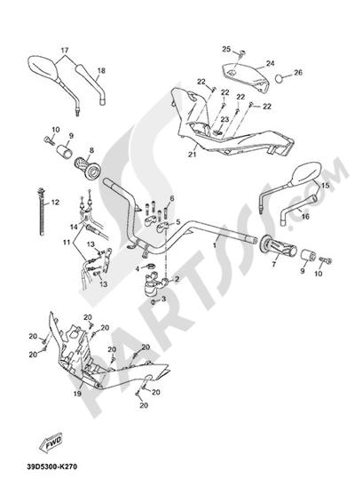 Yamaha X-Max 125 ABS 2013 HANDELBAR AND CABLES