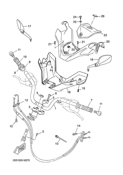 Yamaha X-Max 400 ABS 2015 HANDELBAR AND CABLES