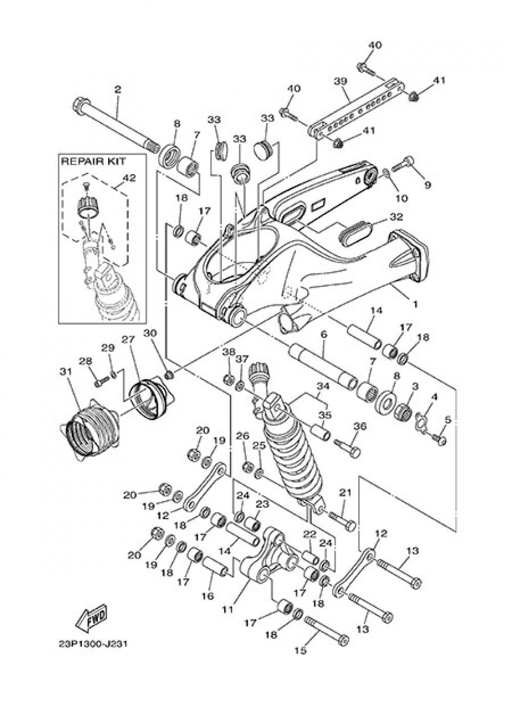 REAR ARM & SUSPENSION Yamaha XT1200Z SuperTenere 2013